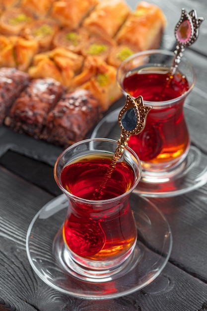 Turkish tea in traditional glass Premium Photo