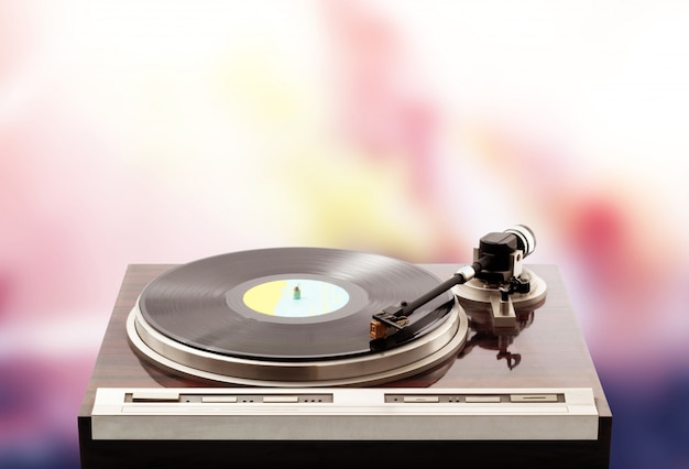 Turntable on psichedelic Premium Photo
