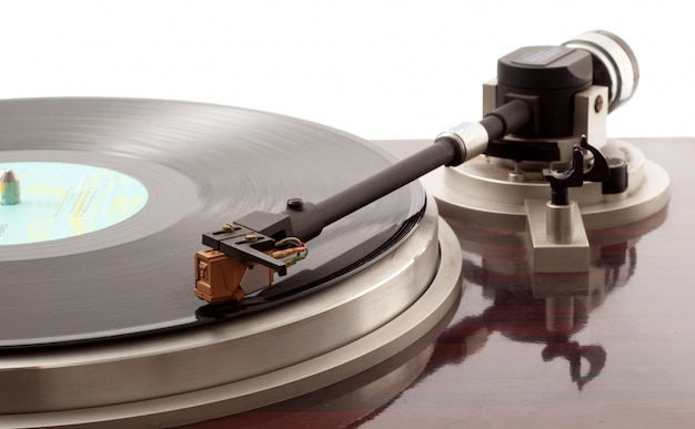 Turntable on white Premium Photo