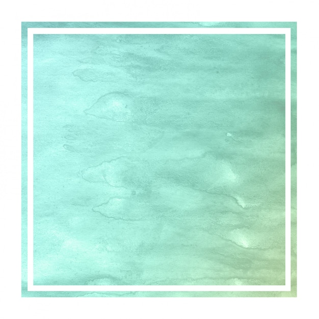 Turquoise hand drawn watercolor rectangular frame background texture with stains Premium Photo