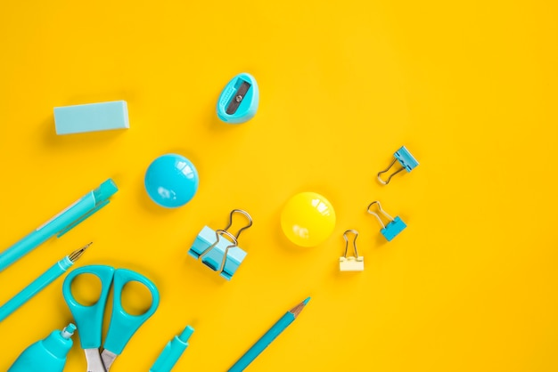 Turquoise school and office basic stationery Free Photo