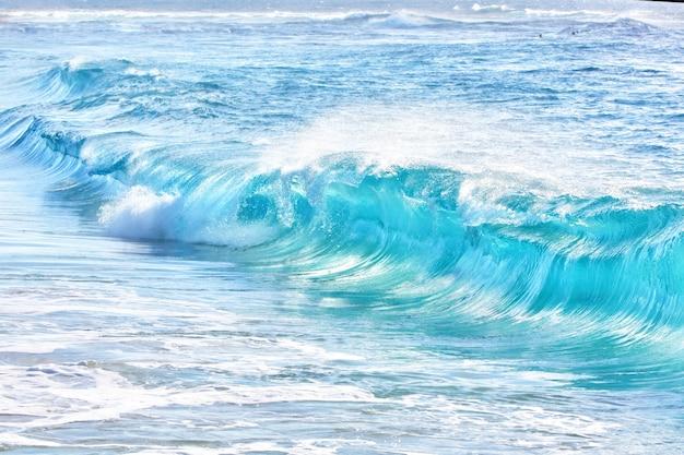 Бирюзовые волны на песчаном пляже, гавайи Premium Фотографии