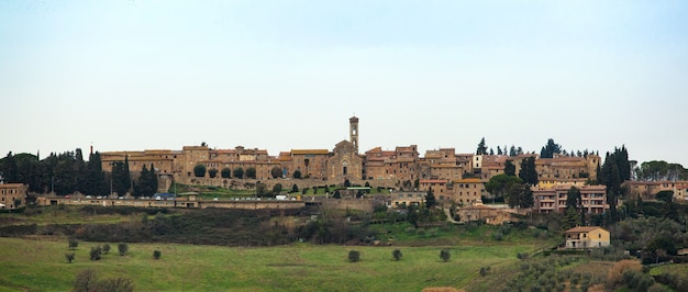 Tuscan landscape with ancient buildings of barberino val d'elsa. Premium Photo