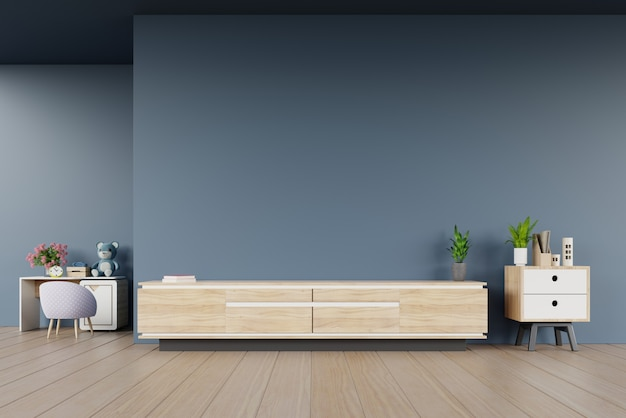 Tv cabinet in modern empty room and children's room on dark wall Premium Photo