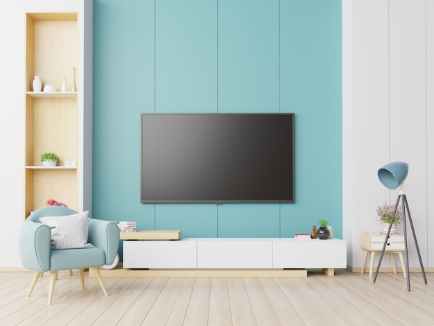 Premium Photo Tv On The Cabinet In Modern Living Room With Armchair On Blue Wall Background