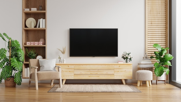 Tv Cabinet On The White Wall, Living Room Cabinet