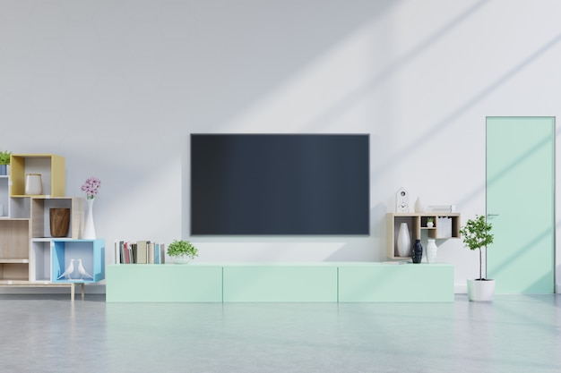 Premium Photo Tv On Green Cabinet In Modern Living Room With Plants In Living Room With Empty White Wall