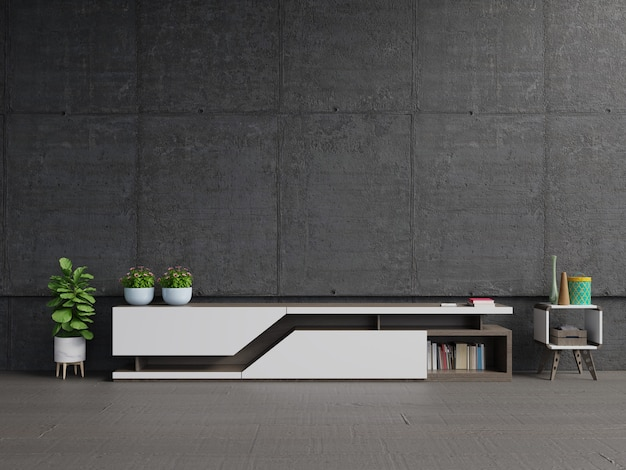 Tv shelf on the in modern living room the concrete wall. Premium Photo
