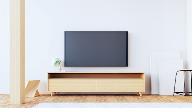 Tv wall  in living room / 3d rendering Premium Photo