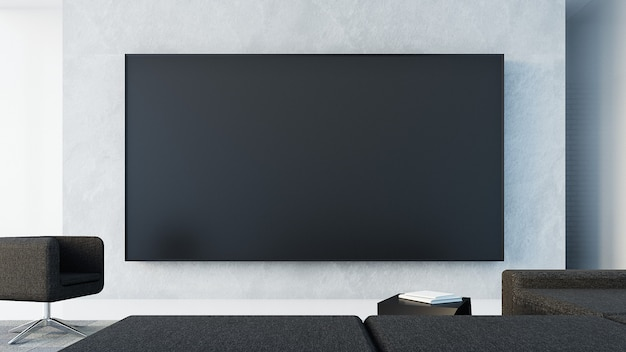 Tv wall  in living room / 3d rendering Premium Photo