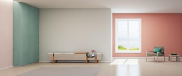Tvスタンドと木製キャビネットを備えた豪華な夏のビーチハウスの海ビューピンクリビングルーム。 Premium写真