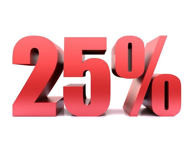 Двадцать пять процентов 25% символ .3d рендеринг Premium Фотографии