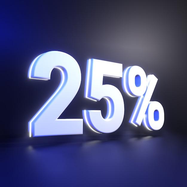 Двадцать пять процентов числового рендеринга Premium Фотографии