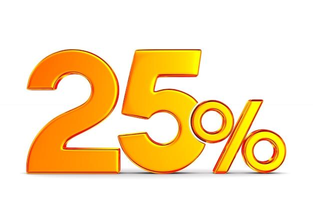 Двадцать пять процентов на пустом пространстве. изолированные 3d иллюстрации Premium Фотографии