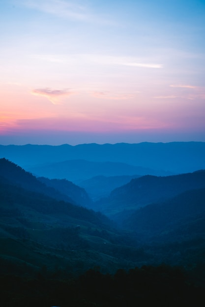 Twilight color mountain the mountain valley after the twilight light sunset blue purple Premium Photo