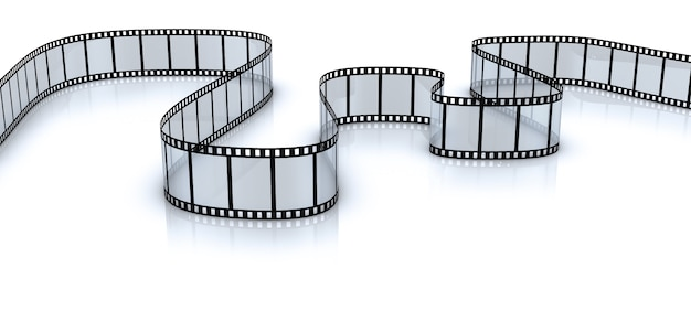 Twisted blank film for a camera on a white background. 3d render. Premium Photo