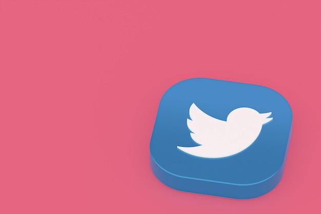 Логотип приложения twitter 3d-рендеринг на розовом фоне Premium Фотографии