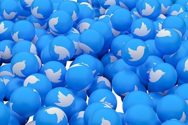Twitter emoji 3d визуализации фона, символ социальных медиа шар Premium Фотографии