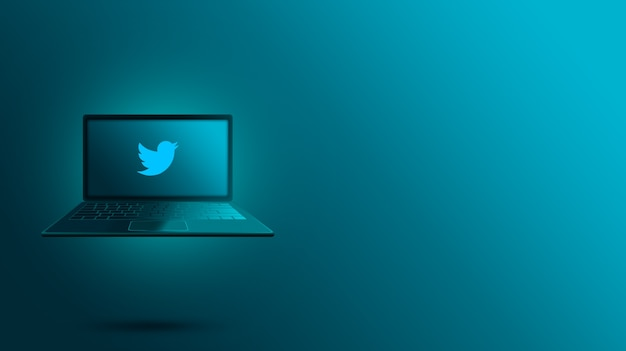 ノートパソコンの画面上のtwitterロゴ Premium写真
