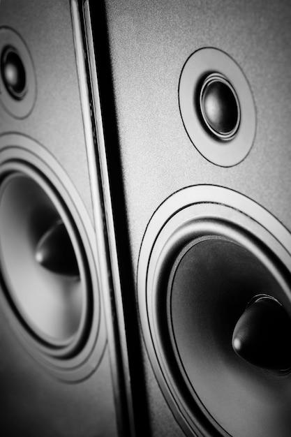 Two audio sound speakers on dark Premium Photo