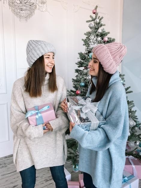 스웨터와 모자를 입고 두 아름 다운 여자 프리미엄 사진