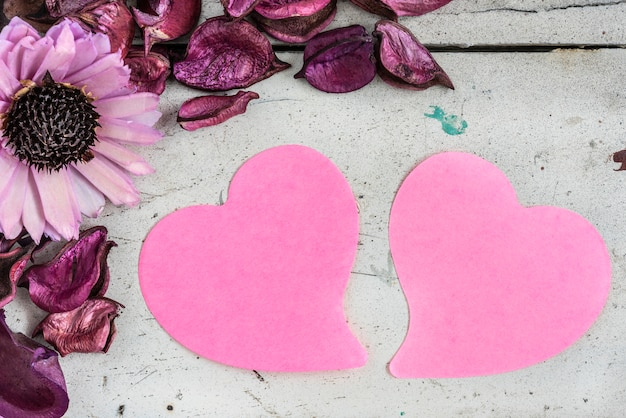 Two blank hearts note paper with pink flowers photo free download two blank hearts note paper with pink flowers free photo mightylinksfo