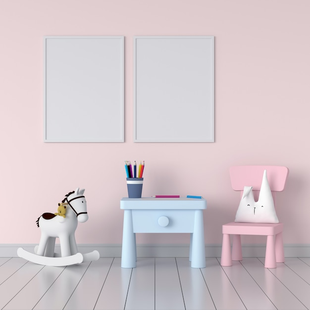 Two blank photo frame in pink child room Premium Photo