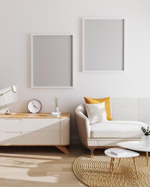 현대 거실 인테리어에 두 개의 빈 포스터 프레임입니다. 모형, 흰색 벽과 현대적인 미니멀리즘 가구가있는 거실. 스칸디나비아 스타일, 거실 인테리어. 3d 렌더링 프리미엄 사진