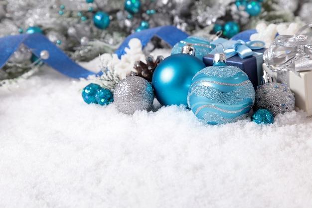 two blue christmas balls free photo - Blue Christmas Balls