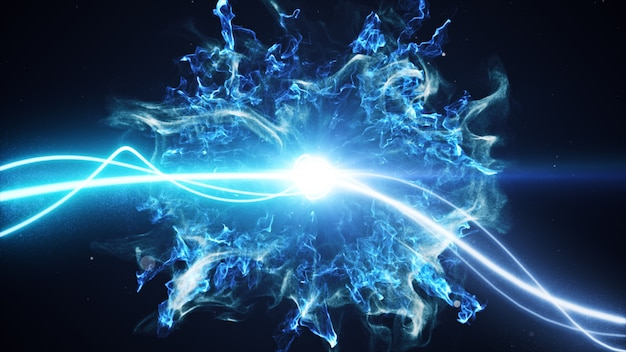 Two blue light streak breaks out on a black background with smoke and light particles and explode in space when interacting with each other 3d illustration Premium Photo