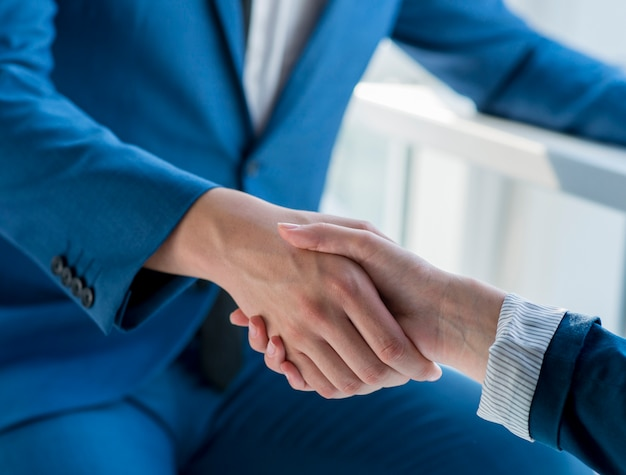 Two business partners shaking hands in office Free Photo
