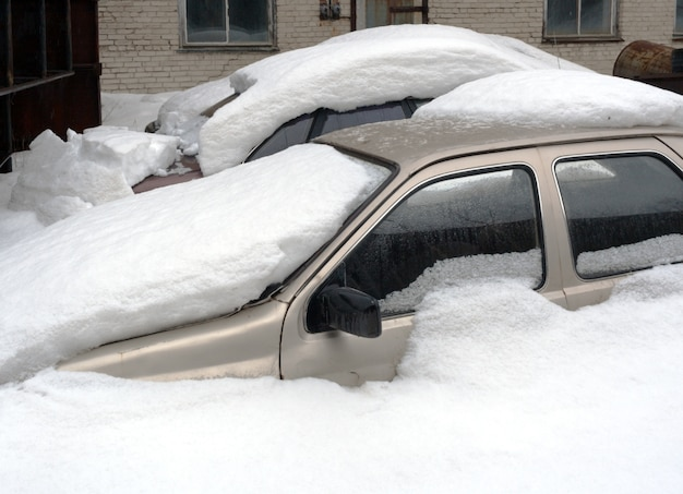 Two car completely buried in snow Premium Photo