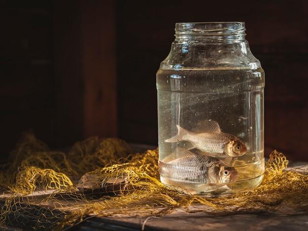 釣りネットとテーブルの上のガラスの瓶に2匹の鯉魚。釣り静物。 Premium写真