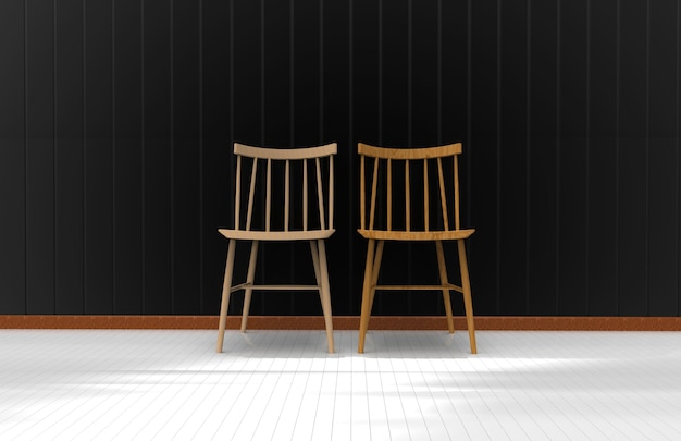 Two chairs on the black wall. 3d rendering Premium Photo