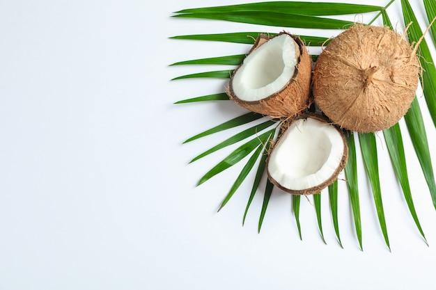 2つのココナッツ1つは白のヤシの枝で分割 Premium写真