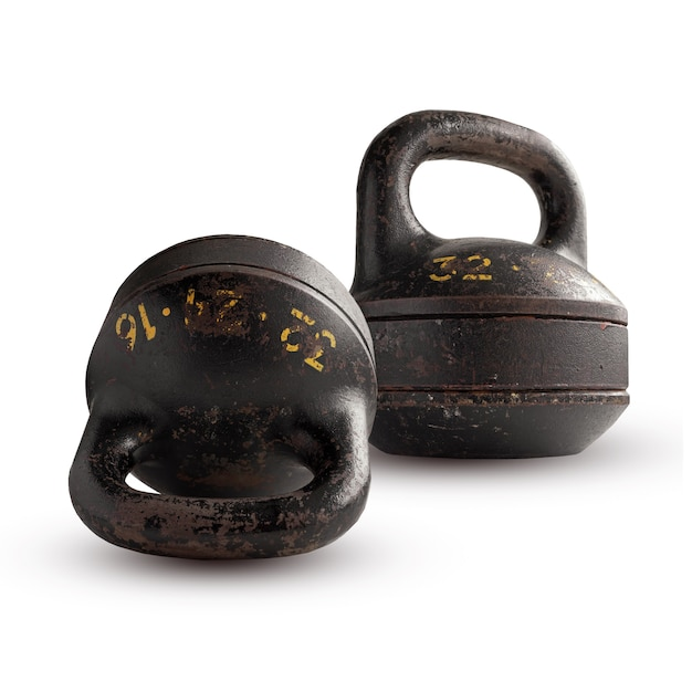 Two collapsible kettlebell, isolated on white background. Premium Photo