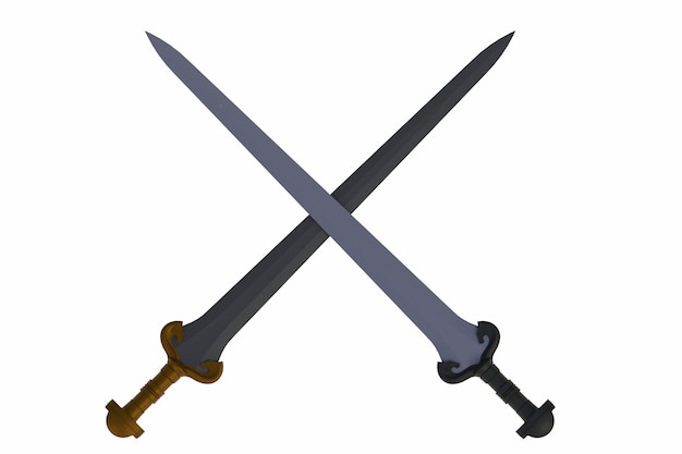 Two crossed swords, isolated on white background, 3d rendering Premium Photo