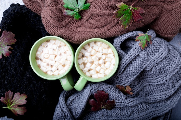Two cup of coffee or hot chocolate with marshmallow Premium Photo