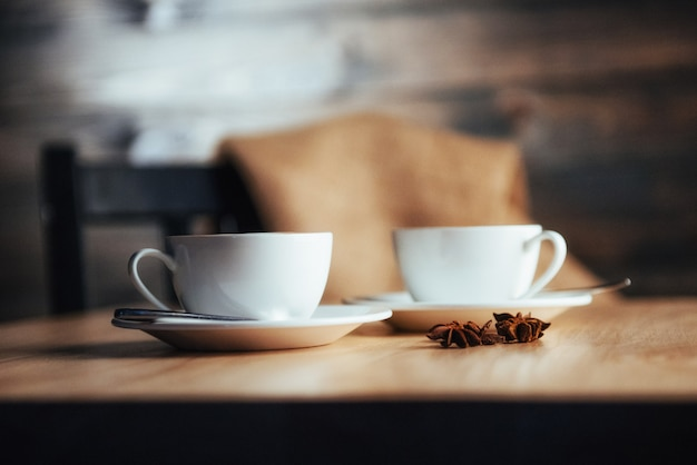 Two cups of gourmet coffee house cappuccino Premium Photo