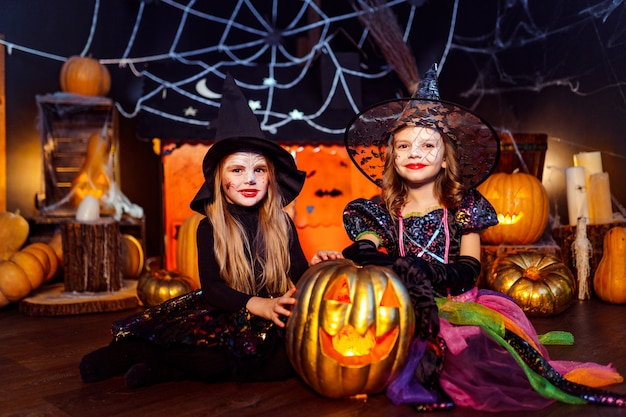 Two cute funny sisters celebrate the holiday. jolly children in carnival costumes ready for halloween. Premium Photo