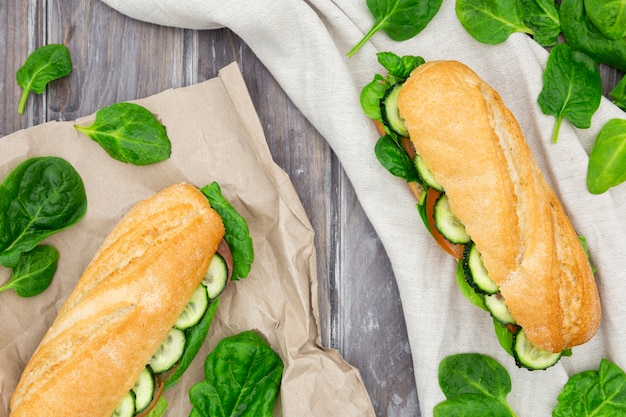 Two delicious sandwiches with spinach Free Photo
