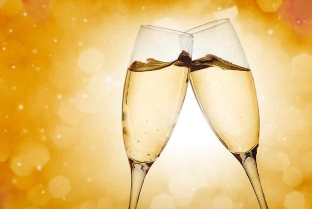Two elegant champagne glasses Premium Photo