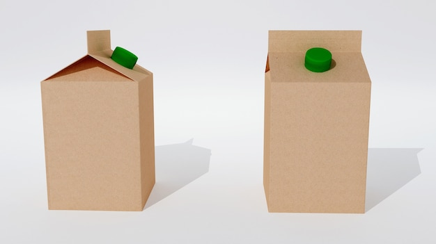 Two empty in packagings for milk or juice isolated. 3d rendering Premium Photo