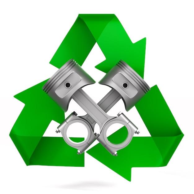 2つのエンジンピストンとシンボルが空白でリサイクル Premium写真