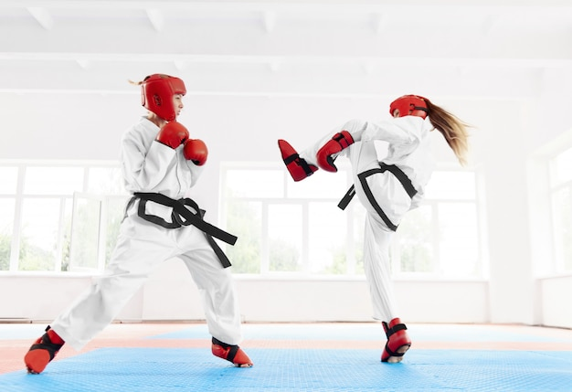 Two female fighter practicing karate kick and punch. Premium Photo