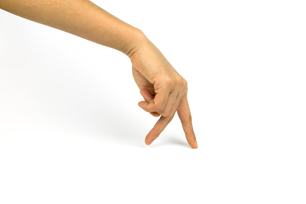 Two fingers walking on white background Premium Photo