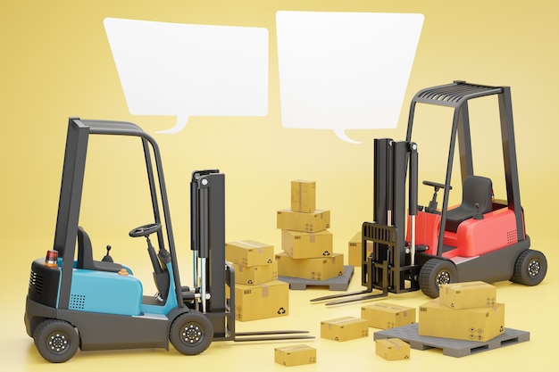 Two forklift trucks with a cardboard box on a pallet and blank text box. Premium Photo