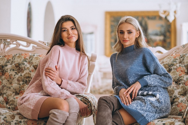 Two girls sitting on sofa and chatting Free Photo
