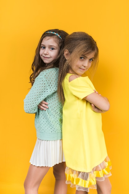 Two girls standing with crossed arms Free Photo