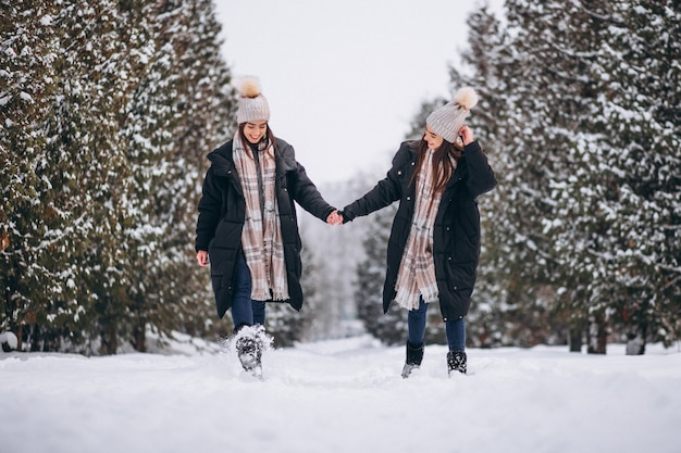 Two girls twins together in winter park Free Photo